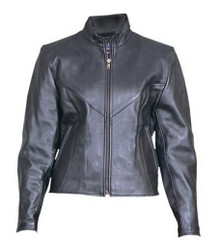 Ladies Plain Cowhide Leather Jacket with Zip Out Liner and Antique Brass Zippers