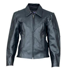 Ladies Cowhide Leather Riding Jacket with Zip Out Liner and Antique Brass Zippers