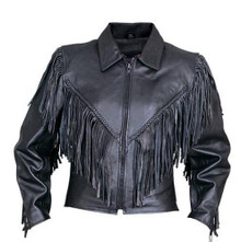 Ladies Cowhide Leather Jacket with Fringe, Braid, Side Lace, and Zip Out Liner