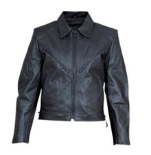 Ladies Cowhide Leather Jacket with Braided Front & Back, Side Lace and Zip Out Liner