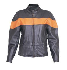 Ladies Black & Orange Leather Jacket with Full Sleeve Zip Out Liner