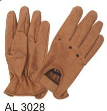 Brown Buffalo Leather Driving Gloves with Holes on the Knuckles & Velcro Tab