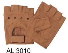 Brown Premium Buffalo Leather Fingerless Gloves with Vented Back