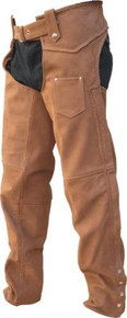 Men's Buffalo Leather Brown Plain Lined Chaps with Braided Side Seams