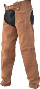 Men's Buffalo Leather Chaps, Brown, Silver Hardware, Lined