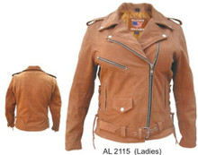 Ladies Brown Motorcycle Jacket with Zip Out Liner & Side Laces