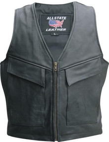 Men's Naked Cowhide Vest with Cargo Pockets & Zippered Front