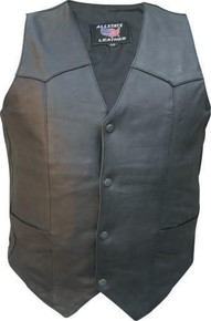 Men's Basic Plain Vest with Buffalo Snaps(Drum Dyed Naked Cowhide).