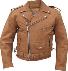 Men's Basic Brown Motorcycle Jacket with Zip Out Liner & Side Lace