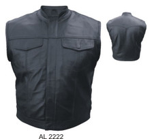Men's Leather Vest in Denim Style with Hidden Snaps & Stand Up Collar