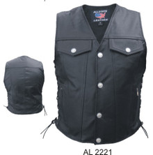 Men's Vest Leather in Denim Style with Buffalo Snaps