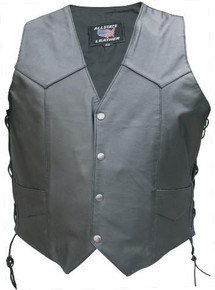 Men's Buffalo Leather Vest with Leather Lined Gun Pockets