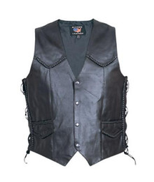 Men's Basic Split Cowhide Leather Vest with Braided Seams and Side Laces