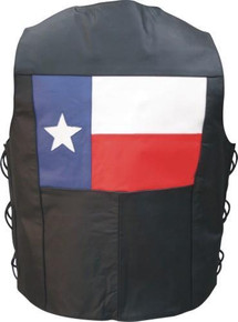 Men's Basic Buffalo Leather Vest with Side Laces & Texas Flag