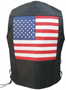 Men's Basic Buffalo Leather Vest with Side Laces & USA Flag