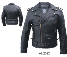 Men's Basic Motorcycle Jacket with zipout liner & side lace in Antique hardware (Buffalo)