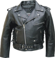 Mens Buffalo Leather Jacket with Side Laces & Zip Out Liner