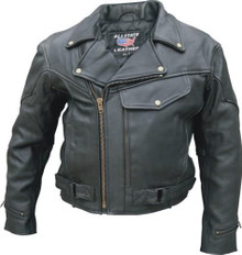 Mens (Naked Cowhide) Leather Jacket, Vented, Braid Trim, Full Sleeve Zip Out Liner
