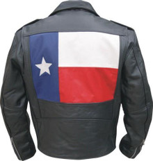 Mens Buffalo Leather Jacket with Texas Flag