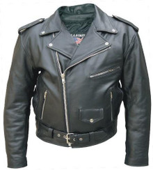Mens Basic Split Cowhide Leather Jacket