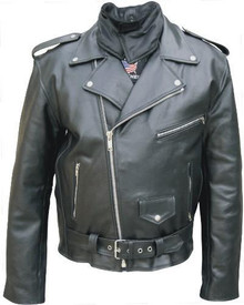Mens Basic Split Cowhide Motorcycle Jacket