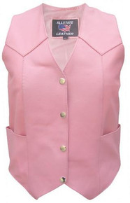 Ladies Pink Leather Vest AL2320