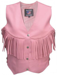 Ladies Pink Leather Vest with Fringe AL2322
