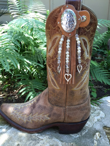Boot Candy Boot Toppers with Distressed Tan Leather Fringe and White Pearls with Silver Heart Charms.   Made in the U.S.A.
