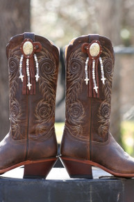 Boot Candy Toppers, Chocolate Leather with Oval Concho, White Beads and Fringe