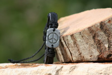 Black Leather and Chord Peace Bracelet