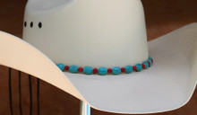 "CTL Hat Bands are made of Colored Gem Stones and Leather Lace.  This CTL Hat Band contains Turquoise Ovals with Red Round Beads.   The Black leather Lace is accented with the same Colored Stones and ties in the back of the hat.  The Gem Stone Strand measures 20"" and the Leather Lace Measures 14"" and will drape down the back if your hat."