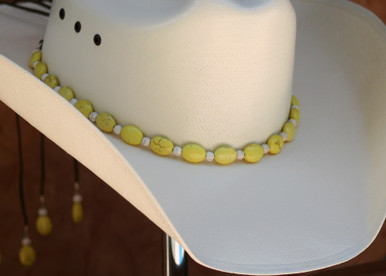 """CTL Hat Bands are made of Colored Gem Stones and Leather Lace.  This CTL Hat Band contains Yellow Ovals with White Round Beads.   The Brown leather Lace is accented with the same Colored Stones and ties in the back of the hat.  The Gem Stone Strand measures 20"""" and the Leather Lace Measures 14"""" and will drape down the back if your hat."""