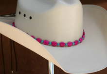 "CTL Hat Bands are made of Colored Gem Stones and Leather Lace.  This CTL Hat Band contains Pink Ovals with Turquoise Round Beads.   The Black leather Lace is accented with the same Colored Stones and ties in the back of the hat.  The Gem Stone Strand measures 20"" and the Leather Lace Measures 14"" and will drape down the back if your hat."