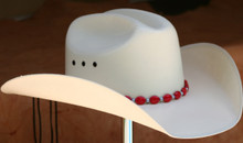 "CTL Hat Bands are made of Colored Gem Stones and Leather Lace.  This CTL Hat Band contains Red Ovals with Gun Metal Round Beads.   The Black leather Lace is accented with the same Colored Stones and ties in the back of the hat.  The Gem Stone Strand measures 20"" and the Leather Lace Measures 14"" and will drape down the back if your hat."