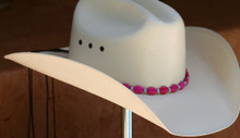 "CTL Hat Bands are made of Colored Gem Stones and Leather Lace.  This CTL Hat Band contains Pink Ovals with Gun Metal Round Beads.   The Black leather Lace is accented with the same Colored Stones and ties in the back of the hat.  The Gem Stone Strand measures 20"" and the Leather Lace Measures 14"" and will drape down the back if your hat."
