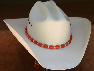 """CTL Hat Bands are made of Colored Gem Stones and Leather Lace.  This CTL Hat Band contains Orange Ovals with White Round Beads.   The Black leather Lace is accented with the same Colored Stones and ties in the back of the hat.  The Gem Stone Strand measures 20"""" and the Leather Lace Measures 14"""" and will drape down the back if your hat."""