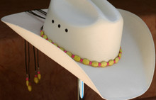 "CTL Hat Bands are made of Colored Gem Stones and Leather Lace.  This CTL Hat Band contains Yellow Ovals with Pink Round Beads.   The Brown leather Lace is accented with the same Colored Stones and ties in the back of the hat.  The Gem Stone Strand measures 20"" and the Leather Lace Measures 14"" and will drape down the back if your hat."