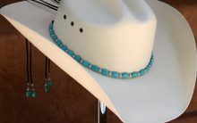 "CTL Hat Bands are made of Colored Gem Stones and Leather Lace.  This CTL Hat Band contains Turquoise Ovals with Gun Metal Round Beads.   The Black leather Lace is accented with the same Colored Stones and ties in the back of the hat.  The Gem Stone Strand measures 20"" and the Leather Lace Measures 14"" and will drape down the back if your hat."