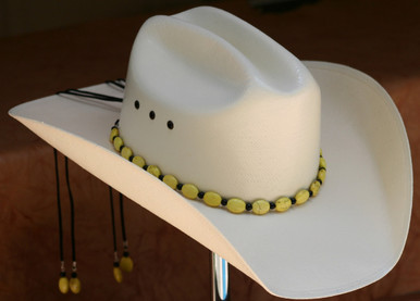 "CTL Hat Bands are made of Colored Gem Stones and Leather Lace.  This CTL Hat Band contains Yellow Ovals with Black Round Beads.   The Black leather Lace is accented with the same Colored Stones and ties in the back of the hat.  The Gem Stone Strand measures 20"" and the Leather Lace Measures 14"" and will drape down the back if your hat."