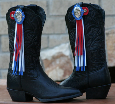 "Boot Candy Toppers,   attach to the tops of your Boots thru the Pull Straps.  This pair of Boot Candy Boot Toppers have Silver Rope Edge Conchos with Red, White and Blue Leather Fringe.  A perfect way to show your American Spirit.   Add subtle elegance to your boots.  Fringe measures 7"",  Concho measures 1.5""   We are Made in the USA."