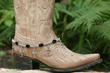 Boot Candy Black Glass Ovals with Oval Design Crosses