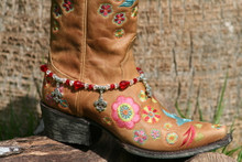 Boot Candy Red Crystals and Flur de Lis Charms