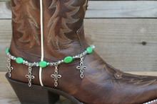 Boot Candy Green Ovals with Oval Design Crosses