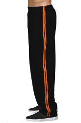 Pitbull Double Stripe Workout Pant Black & Orange