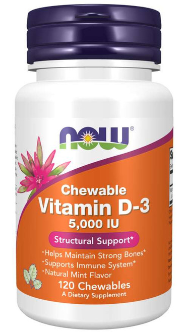 Vitamin D-3 5000 IU - 120 Chewables Now Foods