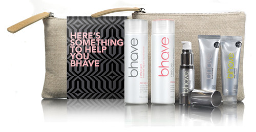 bhave rescue intense repair pack with rescue shampoo 100ml, rescue conditioner 100ml, riot control oil 15ml, deep conditioning masque 35ml and leave in creme 35ml
