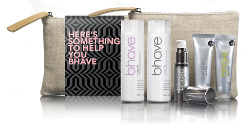 bhave magnify volumising pack with magnify shampoo 100ml, magnify conditioner 100ml, riot control oil 15ml, deep conditioning masque 35ml and leave in creme 35ml