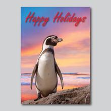 Happy Holidays Penguin Sunset Card