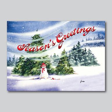 Watercolor Snowman Christmas Card
