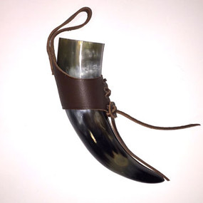 Small Brown Drinking Horn With Belt Frog